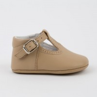 247 Camel Leather T-Bar Pram Shoe