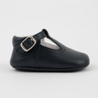 247 Navy Leather T-Bar Pram Shoe