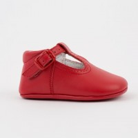 247 Red Leather T-Bar Pram Shoe
