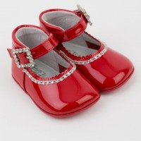 Patent Diamante Mary Janes Pram Shoes