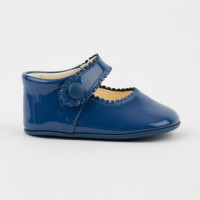 TI114 Blue Patent Mary Jane Pram Shoe