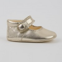 TI114 Gold Leather Mary Jane Pram Shoe