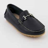 Leather Loafer with Silver Bar