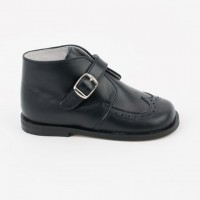 CL-10255 Nens Navy Leather Buckle Ankle Boot with Brogue Pattern
