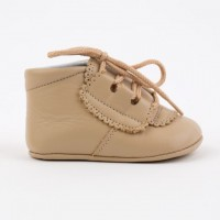 5332 Camel Leather Lace up Pram Bootie