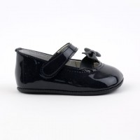 2543 Navy Patent Bow Mary Jane Pram Shoe