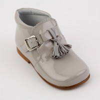 Grey Patent Tassel Boot with Buckle