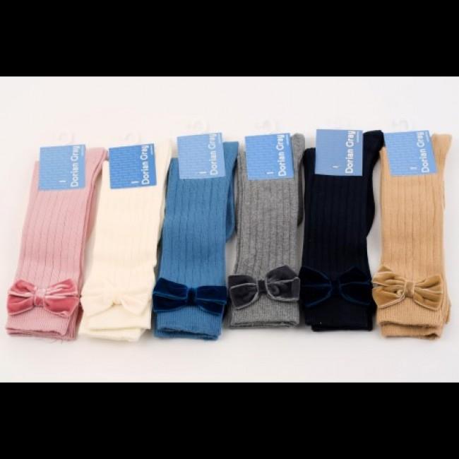 ca215e8c08b Ribbed Knee High Socks with Velvet Bows - £7.50 - Our Little Shoe ...