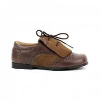 365606 Brown Leather & Suede Brogue with Suede Kilt Tongue