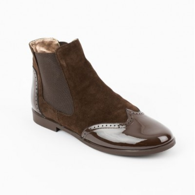 A-2644 Brown Suede and Patent Chelsea Boot