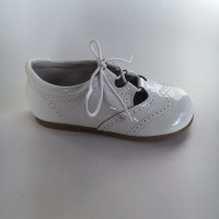 370005 White Patent Lace up Summer Shoe