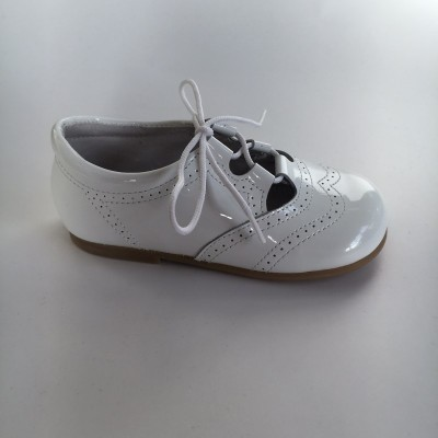 370005 White Patent Lace up Shoe