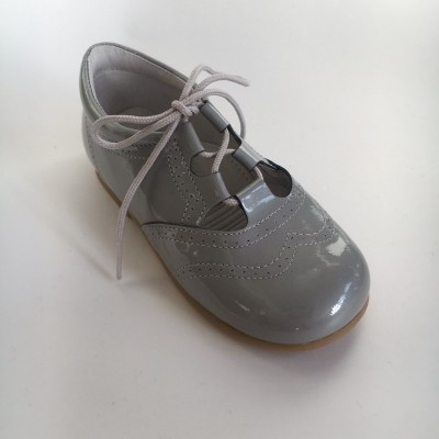 370005 Grey Patent Lace up Shoe