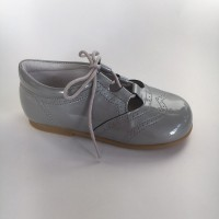 370005 Grey Patent Lace up Summer Shoe