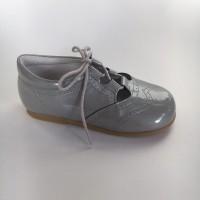 370005 Grey Patent Lace up Shoe