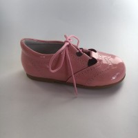 370005 Pink Patent Lace up Summer Shoe