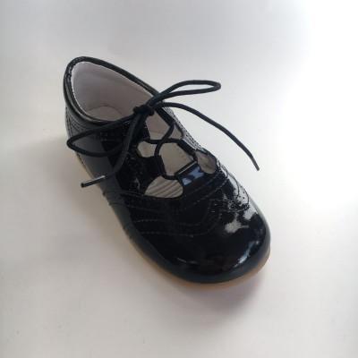 370005 Navy Patent Lace up Shoe