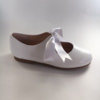 A-2965 White Leather Ribbon Lace up Dolly Shoe