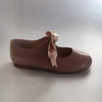 A-2965 Taupe Leather Ribbon Lace up Dolly Shoe