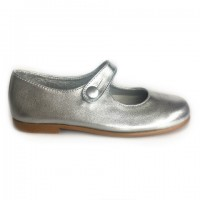 8145-J Nens Silver Leather Mary Janes (size 25-34)