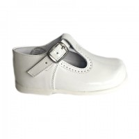 184-E Nens White Patent T-Bar Shoe