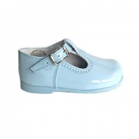 184-E Nens Pale Blue Patent T-Bar Shoe