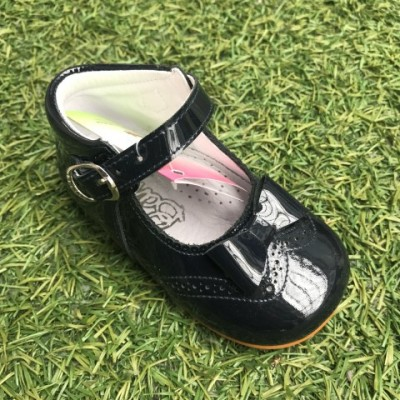 4886 Navy Patent High Back Mary Janes with Bow