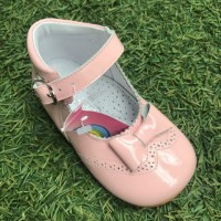4886 Pink Patent High Back Mary Janes with Bow