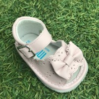 1365 - Pink Leather Open Toe Bow Pram Sandal