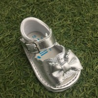 1365 - Silver Leather Open Toe Bow Pram Sandal